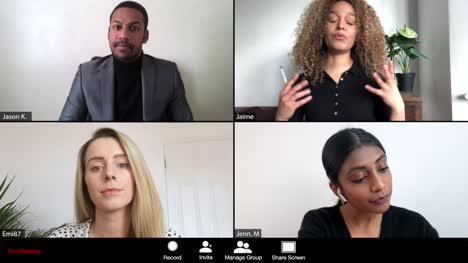 Mujer-Dirigiendo-Una-Conferencia-Online-A-Través-De-Webcam