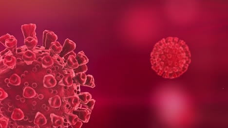 Coronavirus-Cells-Spinning-Concept-Red