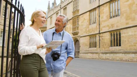 Medium-Shot-of-Middle-Aged-Tourist-Couple-Reading-a-Map-