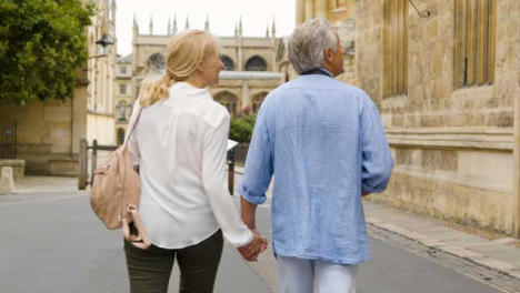 Tracking-Shot-of-Middle-Aged-Couple-Exploring-City-Streets