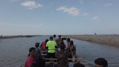 Irukkam-Island-Andhra-Pradesh-India-July-20-2019-Tourists-traveling-on-a-boat-to-Irukkam-Island-in-Pulicat-lake-