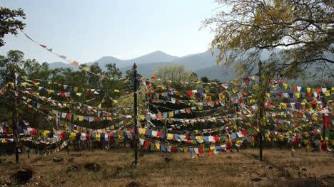 Schöne-Aufnahme-Von-Bunten-Buddhistischen-Flaggen-Die-An-Einem-Sonnigen-Tag-Im-Wind-Auf-Einem-Seil-Flattern