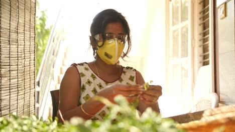 Primer-Plano-De-Una-Mujer-Del-Sur-De-India-Con-Máscara-Y-Gafas-De-Seguridad-Recogiendo-Hojas-De-Espinacas-Durante-La-Pandemia-Del-Virus-Corona-Covid19