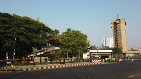 Bengaluru-Karnataka-India-24Mar2019-Traffic-in-front-of-Cubbon-park-metro-entry-in-front-of-the-famous-LCA-Tejas-installed-by-HAL