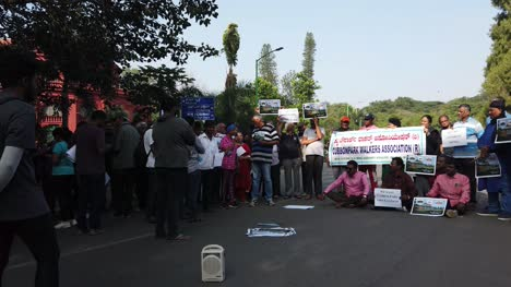 Bengaluru-Karnataka-India-November-24-2019-Public-and-people-from-walkers-association-protesting-against-allowing-vehicles-inside-the-Cubbon-park