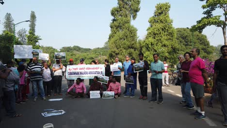 Bengaluru-Karnataka-India-Public-and-people-from-walkers-association-protesting-against-allowing-vehicles-inside-the-Cubbon-park
