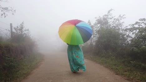 Wide-angle-shot-of-a-woman-wearing-a-dress-walking-through-thick-fog-in-a-forest-during-early-morning-with-a-colorful-umbrella