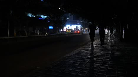 Bengaluru-Karnataka-India-October-28-2019-Traffic-and-pedestrians-walking-in-the-air-pollution-caused-during-the-famous-Indian-festival-Diwali