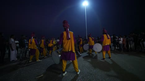 Varkala-Kerala-India-A-group-of-drummers-playing-during-the-eve-of-new-year-celebration