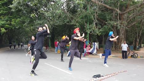 Zeitlupenaufnahme-Eines-Punjabi-Flashmobs-Der-An-Einem-Hellen-Tag-Bhangra-Zu-Einem-Lied-Im-Cubbon-Park-Tanzt-