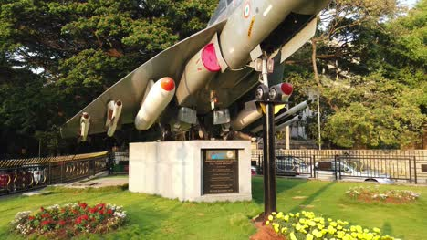 Medium-wide-top-to-bottom-tilt-shot-of-the-LCA-aircraft-installed-in-Cubbon-park-circle-by-HAL-in-Bengaluru-Karnataka-India