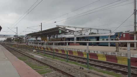 Jolarpettai-Tamilnadu-India-March-17-2020-Wide-angle-panning-shot-of-a-nearly-empty-railway-station-due-to-corona-virus-threat-on-an-overcast-day-