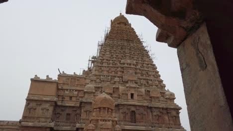 Tanjore-Tamilnadu-India-July-08-2019-Tilt-down-view-of-the-world-famous-Brihadisvara-Temple-in-Thanjavur