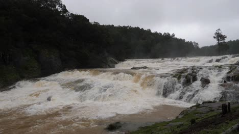 Wide-angle-shot-of-the-flooded-Pykara-water-falls-at-Ooty-Tamilnadu-India-