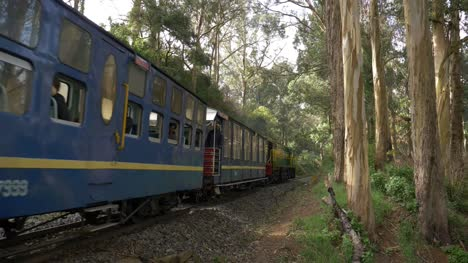 Ooty-Tamil-Nadu-India-August-16-2019-Medium-wide-angle-shot-of-the-world-famous-only-rack-train-in-India-running-on-the-Nilgiri-mountain-range