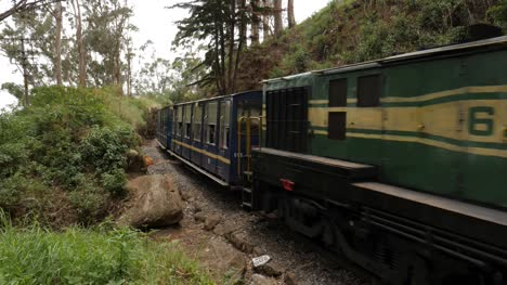 Ooty-Tamil-Nadu-India-Medium-wide-angle-shot-of-the-world-famous-only-rack-train-in-India-running-on-the-Nilgiri-mountain-range
