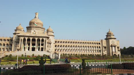Bengaluru-Karnataka-India-10Mar2019-Wide-angle-panning-video-of-Vidhana-Soudha-in-Bengaluru-Karnataka-India-during-daytime