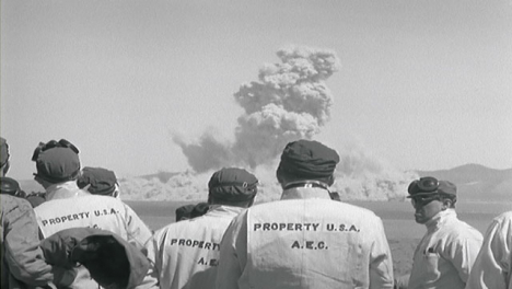 1950s-American-Military-Personnel-Observe-Nuclear-Bomb-Test-From-a-Distance