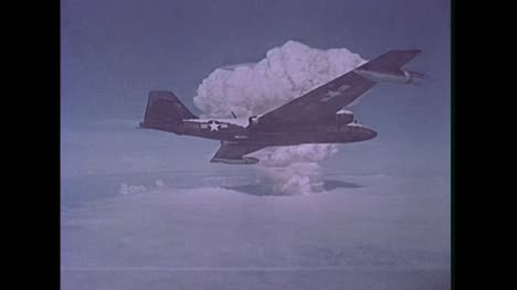 1958-American-B-57B-Plane-On-Cloud-Sampling-Mission-During-Nuclear-Test-at-Bikini-Atoll