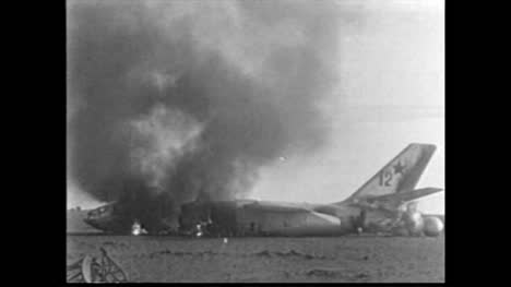 Archive-Clip-of-Grounded-Plane-Debris-Burning-After-First-Soviet-High-Altitude-Nuclear-Test-01-