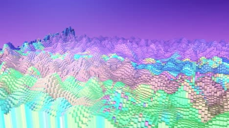 3D-Animated-Abstract-Blocky-Landscape-Fluorescent-Motion-Graphic