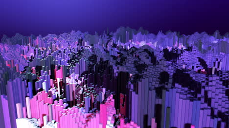 3D-Animated-Abstract-Blocky-Landscape-Purple-Motion-Graphic