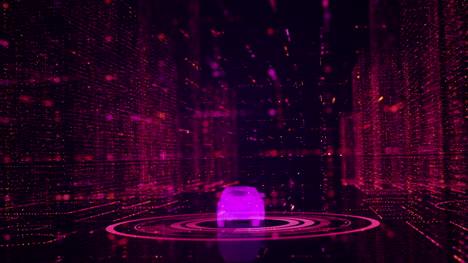 Coche-3d-Animado-En-Gráfico-De-Movimiento-Púrpura-Ciudad-Digital
