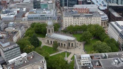 Drohnenschuss-Im-Orbit-Um-Die-St--Philips-Kathedrale-Von-Birmingham