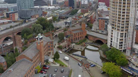 Drone-Shot-Orbiting-Castlefield-Canals-02