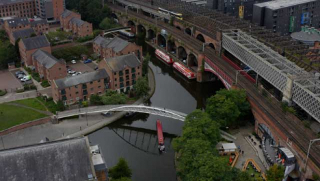 Drone-Shot-Approaching-Boat-At-Castlefield-Canals