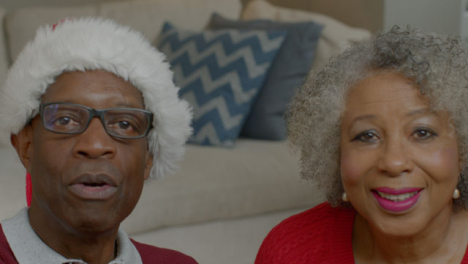 Older-Couple-Talking-and-Waving-Goodbye-During-Christmas-Video-Call