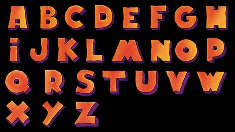 Halloween-Alphabet-Letters-Animated-Motion-Graphic-with-Alpha-Matte