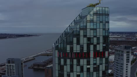 Rising-Drone-Shot-Orbiting-Building-In-Liverpool-City-Centre