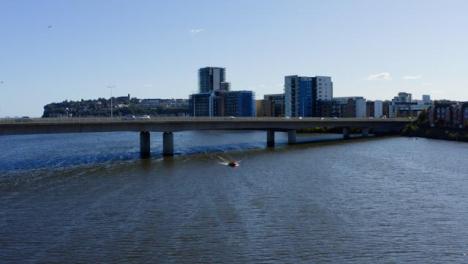 Drone-Shot-Approaching-Bridge-On-Río-Severn-04
