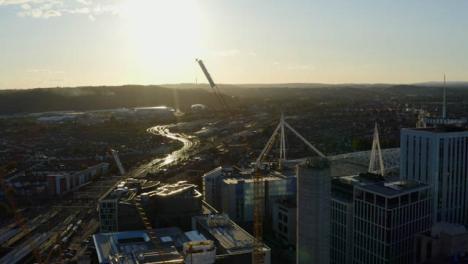 Drone-Shot-Orbiting-Crane-In-Cardiff-City-Centre-02