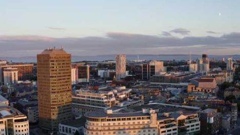 Drone-Shot-Moving-Across-Cardiff-City-Skyline