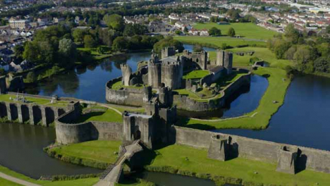Drone-Shot-Orbiting-Caerphilly-Castle-01