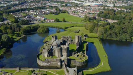 Drone-Shot-Pulling-Away-from-Caerphilly-Castle-01