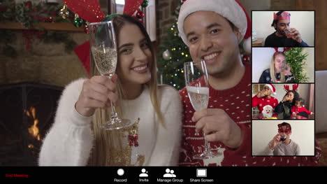Pareja-Anima-A-Amigos-En-Videollamada-De-Navidad