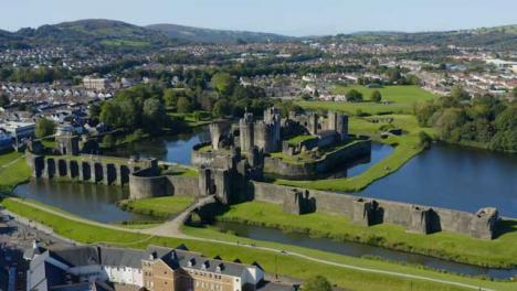 Drone-Shot-Orbiting-Caerphilly-Castle-Long-Version