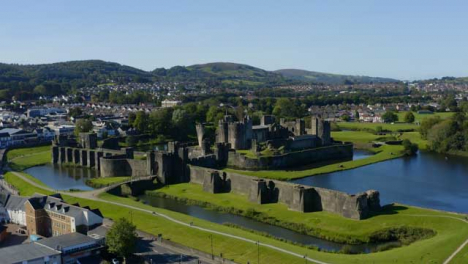 Drone-Shot-Orbiting-Caerphilly-Castle-In-Wales-Short-Version-1-of-3