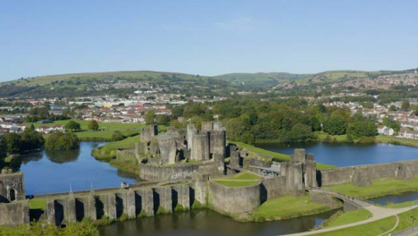 Drone-Shot-Orbiting-Caerphilly-Castle-In-Wales-Short-Version-2-of-3