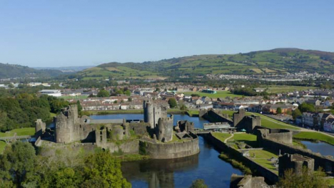 Drone-Shot-Orbiting-Caerphilly-Castle-In-Wales-Short-Version-3-of-3