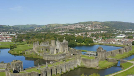 Drone-Shot-Orbiting-Caerphilly-Castle-In-Wales-Long-Version