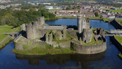 Drone-Shot-Orbiting-Around-Caerphilly-Castle-Short-Version-1-of-2