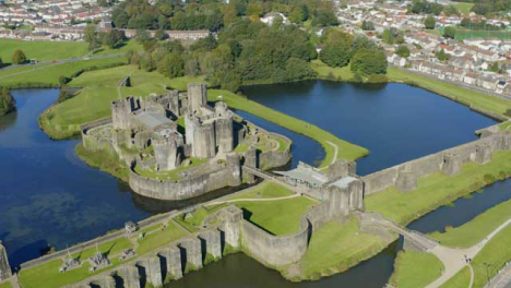 Drone-Shot-Orbiting-Around-Caerphilly-Castle-In-Wales-Short-Version-1-of-2