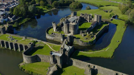 Drone-Shot-Orbiting-Around-Caerphilly-Castle-In-Wales-Short-Version-2-of-2