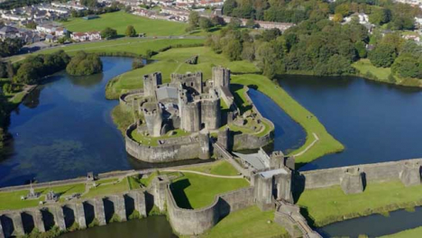 Drone-Shot-Orbiting-Around-Caerphilly-Castle-In-Wales-Long-Version