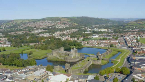 Drone-Shot-Orbiting-Caerphilly-Castle-and-Moat-Short-Version-2-of-2