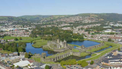 Drone-Shot-Orbiting-Over-Caerphilly-Castle-and-Moat-Long-Version